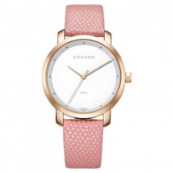 Часы наручные женские gepard, белый циферблат, розовый ремешок, 1252a3l6-1
