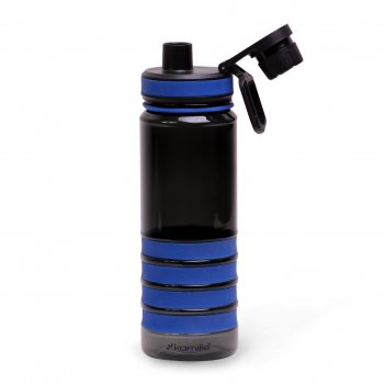 Бутылка спортивная для воды kamille 750мл из пластика (тритан) (черно-сини