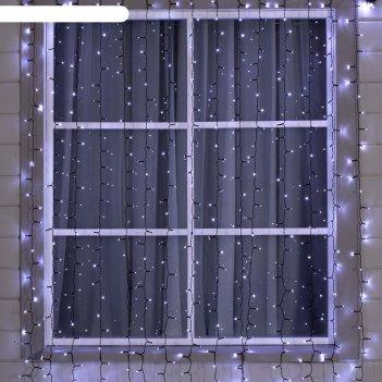 Гирлянда занавес 2 х 3 м , ip44, умс, тёмная нить, 800 led, свечение белое