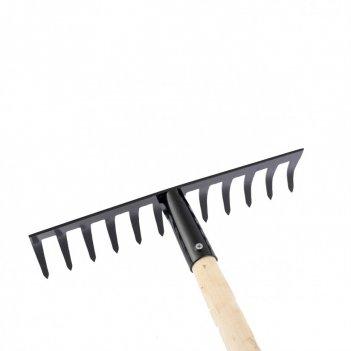 Грабли стальные, 300х1300 мм, 12 прямых зубьев, деревянный черенок, россия