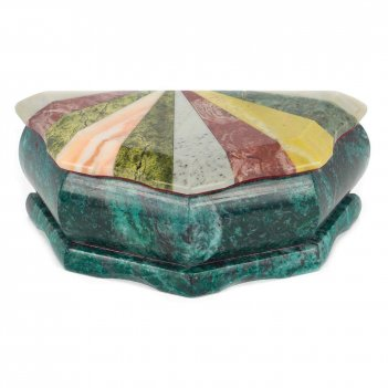 Шкатулка ракушка с мозаикой креноид змеевик офиокальцит мрамор 145х75х55 м