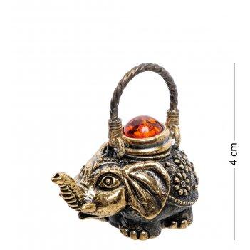Am-2274 фигурка чайник слон  (латунь, янтарь)