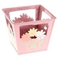 Кашпо оцинкованное цветочки 12*10*12 см, розовое