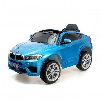 Электромобиль bmw x6m, окраска глянец синий, eva колеса, кожаное сидение
