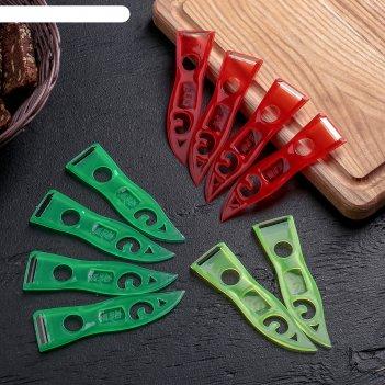 Овощечистка эконом, 11х3 см, набор 10 штук, цвет микс