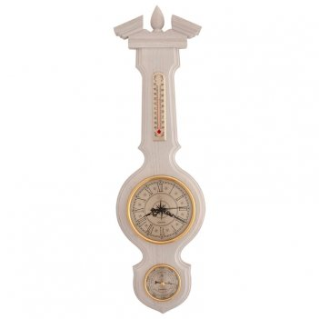 Часы с барометром и термометром настенные