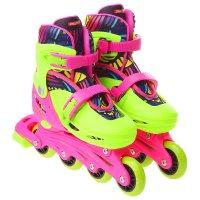 Роликовые коньки раздвижные, колеса pvc 64 мм, пластиковая рама, green/pin