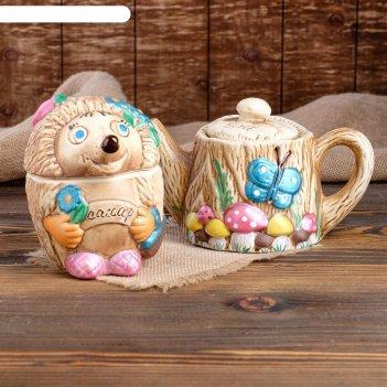 Чайная пара пенек с ёжиком чайник+сахарница, 1 л/ 0,6 л