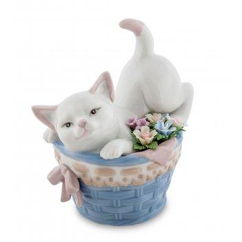 Jp-31/27 фигурка котенок в корзине с цветами (pavone)