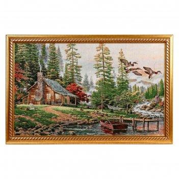 Картина из гобелена домик у горной реки (55х85)