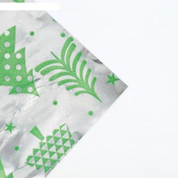 Бумага металлизированная в рулоне «новогодние елки», 0,68 х 5 м