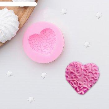 Молд силиконовый 4,6х1 см сердце