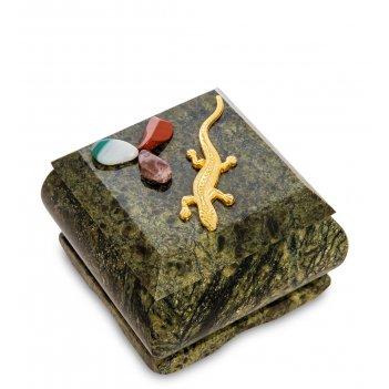 Nst-04 шкатулка ящерка агама (змеевик)