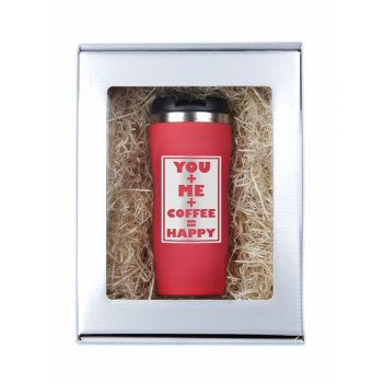 Термокружка you and me... красная в подарочной упаковке