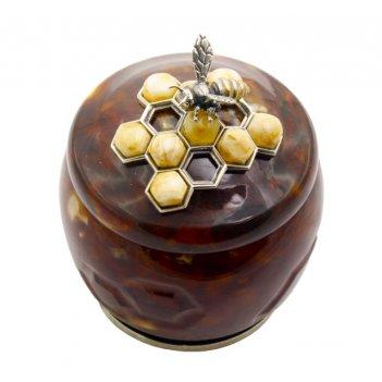 Шкатулка янтарная соты