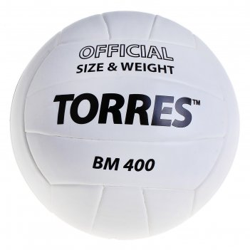 Мяч волейбольный torres bm400, р.5, бело-черный