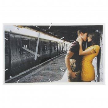Часы настенные прямоугольные влюбленная пара, 35х60 см