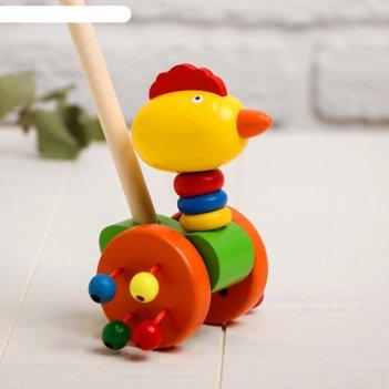 Детская каталка на палочке «животные с бусинками на колёсах» 9x14x50, микс