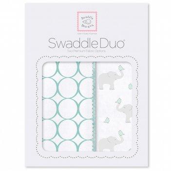 Набор пеленок swaddledesigns swaddle duo sc elephant & chickies mod du