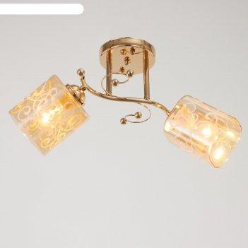 Люстра 5961/2 2х60вт е27, золото/прозрачный с рисунком