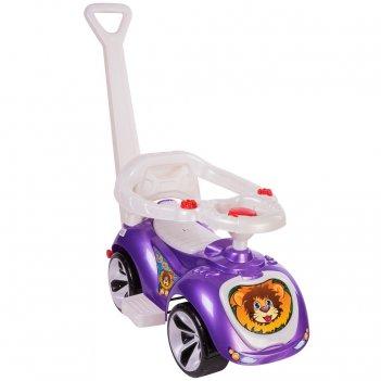 Ор809 каталка машинка с родительской ручкой мишка (lapa) цвет фиолетовый