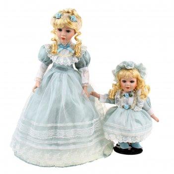 Кукла коллекционная мама с дочкой в голубом платье 40 см 23 см