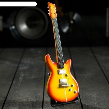 Гитара сувенирная santana жёлтая, на подставке 24х8х2 см