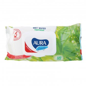 Aura family влажные салфетки для всей семьи с антибак. эффектом  120шт с к