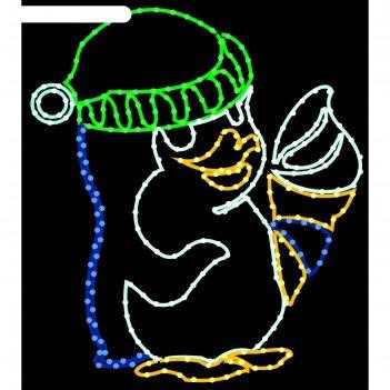 Светодиодное панно пингвиненок, 1 х 0,9 м, led-шнур 14 м, 40 вт,, металлич