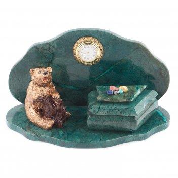 Часы со шкатулкой медведь 265х135х145 мм 2500 гр.