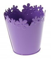 Кашпо оцинкованное цветочный край 12*12 см, фиолетовое
