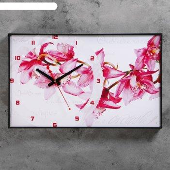 Часы-картина орхидеи, 37х60  см, микс