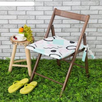 Подушка на стул уличная «этель» квадраты, 45x45 см, репс с пропиткой вмго,