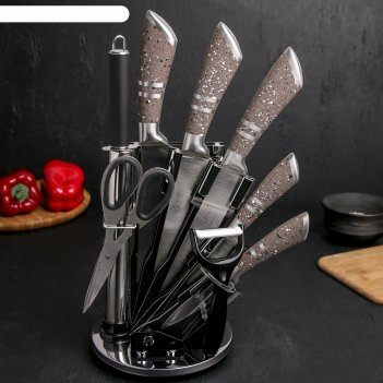 Набор вертиго 8 предметов: 5 ножей:20/24/33/32,5/30, ножницы, мусат, на по