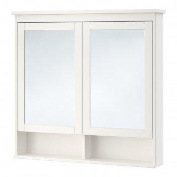 Зеркальный шкаф хемнэс 2 дверцы, белый, 103x16x98 см