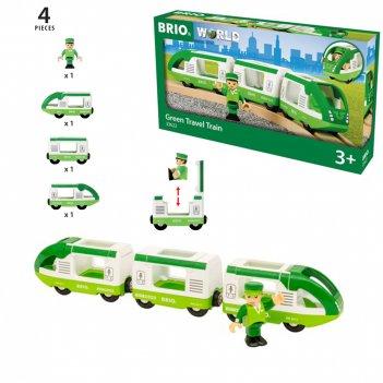 Brio набор зелёный поезд (3 вагона) 29,2*3,7*5 см. и машинист, размер упа