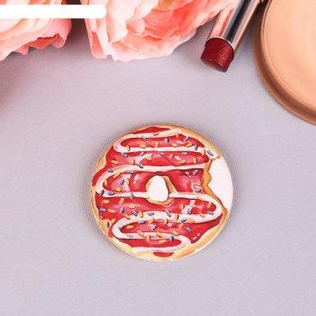 Спонж, пуховка для макияжа пончик, с держателем, d=5,3*0,5см