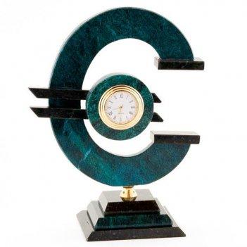 Часы евро большие змеевик темно-зеленый