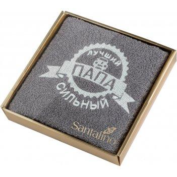 Полотенце сильный папа 40*70 см. 380 г/м2, м/х, х/б 100% серый