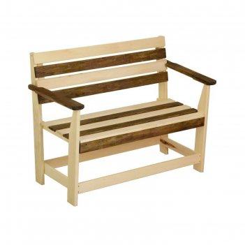 Скамейка с подлокотником зебра, нераскладная, наличник, 160х55х90см