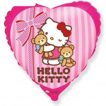 Шар фольгированный 18 сердце hello kitty. котенок и любимые игрушки, розов