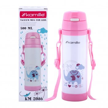 Термобутылка детская kamille розовый 550мл из нержавеющей стали km-2086rz