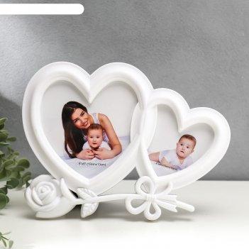 Фоторамка на 2 фото 10х10 см, 10х15 см двойное сердце с розой белая