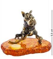 Am-1333 фигурка волк хоккей на траве (латунь, янтарь)