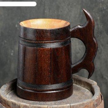 Кружка пивная деревянная мюнкер, темная, 0,8 л