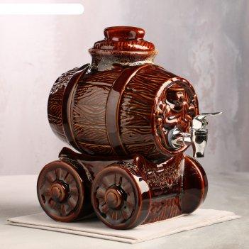 Набор винный бочка на керамической подставке колеса малая, 3 л