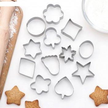 Набор форм для вырезания печенья след, овал, звезда, цветок, 12 шт