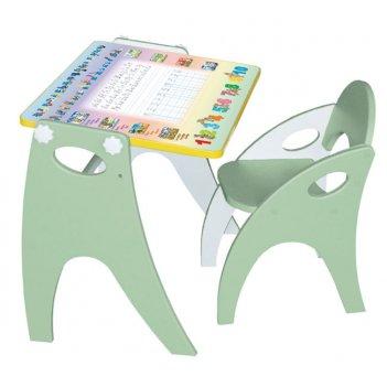 Стол-парта-мольберт (трансформер) цвет салатовый; аппликация буквы-цифры