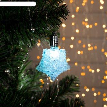 Подвеска световая ледяная звезда, 8 см, батарейки в комплекте