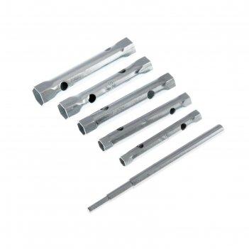 Набор ключей-трубок торцевых, 8 х 17 мм, вороток, оцинкованные, 6 шт.// sp